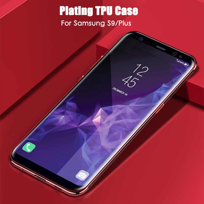Para Samsung Galaxy Note 9 8 S10 S9 Lite Plus funda transparente de revestimiento suave para Samsung A6 A8 Plus J4 j6 J7 J8 A7 A9 2018 A9 estrella