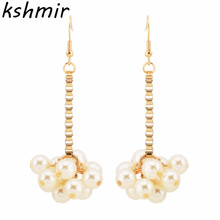 The new original earrings accessories high quality natural imitation pearl earring temperament contracted wholesale