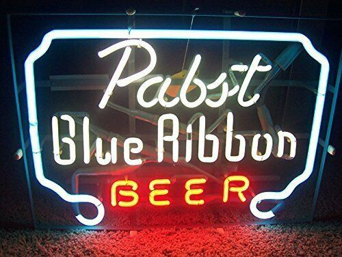Pabst Blue Ribbon Beer Glass Neon Light Sign Beer Bar