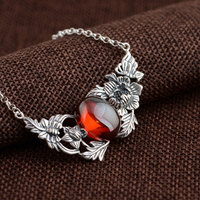 FNJ Flower Pendant Necklaces Women Red Corundum Chalcedony 45cm Chain 925 Silver Necklace S925 Thai Solid Silver Jewelry