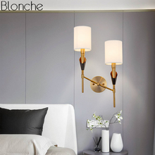 Nordic Gold Wall Lamp Fabric Lamp Shades Modern Led Wall Sconce Light for Bedroom Stair Indoor Home Loft Decor Lighting Fixture ipe cavalli brunilde modern stainless wall lamp for bedroom wall sconce lamp with shade retro wall lamps wall light lamp shades