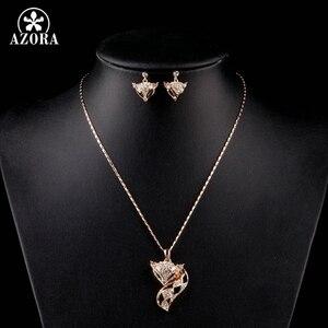 Image 4 - AZORA My Fox Lady couleur or Rose strass autrichien pavé renard pendentif collier et boucle doreille ensemble TG0074