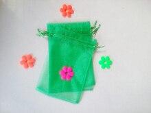 200 unids Hierba verde del regalo del organza bolsas 11×16 cm bolsos de fiesta para las mujeres evento casarse Con Cordón bolsa de La Joyería pantalla Bolsa de accesorios de bricolaje