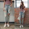 2016 Novo Estilo Moda Verão Mulheres Jeans Rasgado Buracos Harem Pants calças Jeans Lavado Boyfriend Jeans Para As Mulheres Plus Size Do Vintage