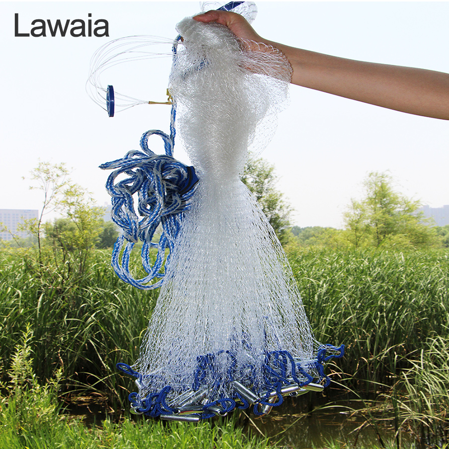 Lawaia Casting Net 2.4m-7.2m Cast Net Small Mesh Fishing Net Iron Pendant Fishing Network Cast Monofilament Netting