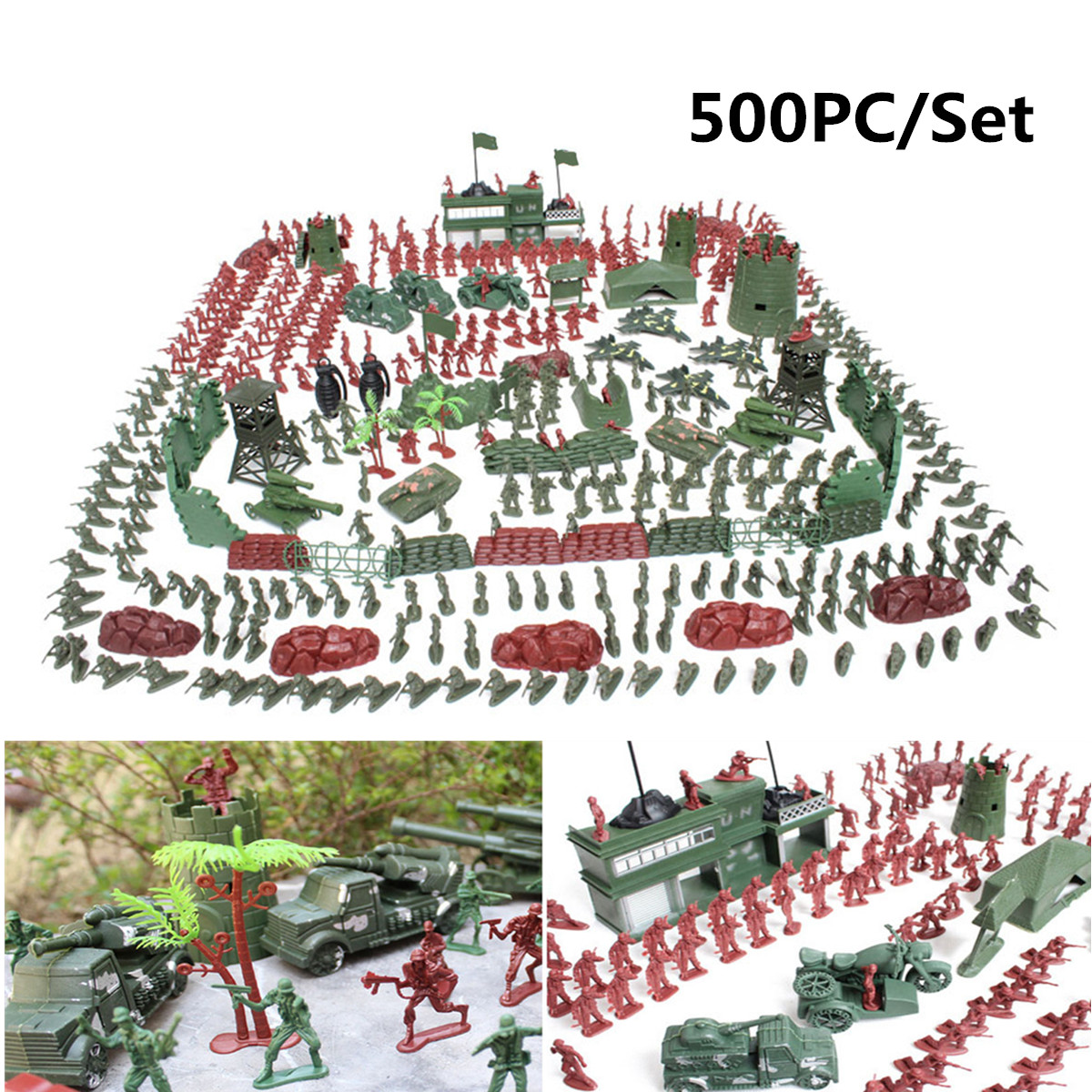 500Pcs/set Military Plastic Soldier Model Toy Army Men Figures Playset Toys Decor Gift For Children Kids Boys 2-4cm 170pcs set military plastic model toy soldier army men figures