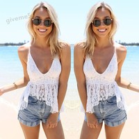 Hot Sale Blusas Plus Size Lady Women S Blouses Fashion Sleeveless Deep V Neck Sexy Slim