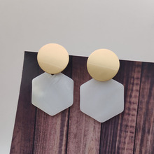 Natural Shell Geometric Earrings Gold Scrub Pendant for Women Party Jewelry P828-P837