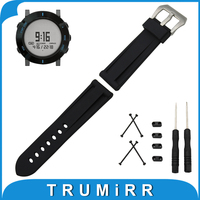 24mm Silicone Rubber Watch Band for Suunto Core 316L Stainless Steel PAM Buckle Strap Wrist Bracelet + Lug Adapter + Tool