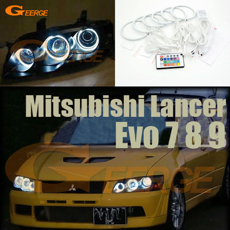 For Mitsubishi Lancer Evo 7 8 9 2002-2007 Excellent RGB Angel Eyes Multi-Color Ultra bright RGB LED Angel Eyes kit Halo Rings for mitsubishi lancer 2008 2015 non projector excellent multi color ultrabright 7 colors rgb led angel eyes halo rings led light