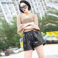 Шило Go кожаный Шорты для женщин Женская мода весна овчины Натуральная кожа короткие лаконичные стрейч высокой талии свободные широкие брюк
