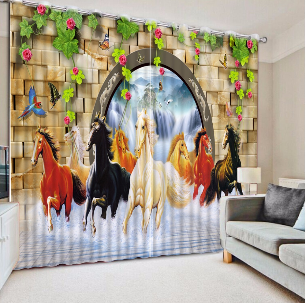Customized Luxury Curtains Horse Photo Curtains Living Room Bedroom 3D Curtain Window Chinese Thick Modern Curtains
