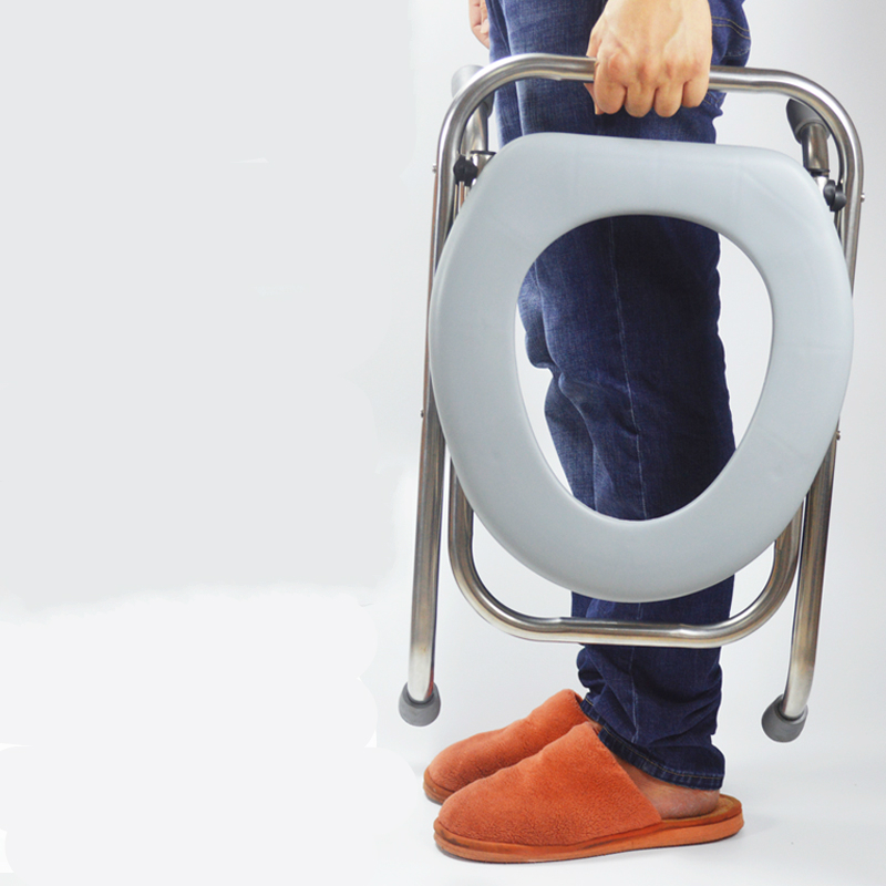 все цены на Stainless Steel Foldable Potty Chair Simple Portable Old People Commode Chair Household Movable Safe Pregnant Woman Potty Stool
