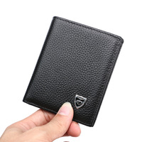 DKER Soft Genuine Leather Men Wallets Vertical Slim 2 Fold Open Casual Black Coffee Colors Photo
