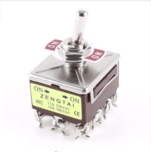 402 4PDT 12 Terminals On-On 2 Position Toggle Switch AC 15A/250V 10A/380V image