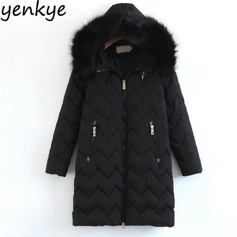 Quilted Women Winter Jacket Casual Long Sleeve Faux Fur Hooded Warm  Padded Coat Vintage Black Outerwear Long YFWM125 pink fluffy faux fur longline ears hooded coat women 2017 winter horn buttons long sleeve pockets front casual warm outwear