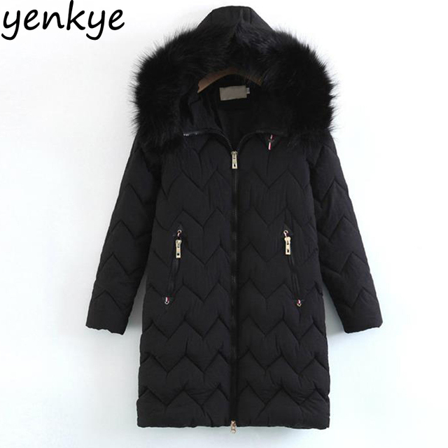 35b37f59300 Quilted Women Winter Jacket Casual Long Sleeve Faux Fur Hooded Warm Padded  Coat Vintage Black Outerwear Long YFWM125