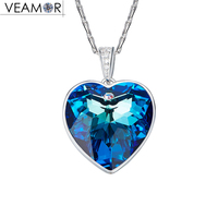 Veamor Real 925 Silver Heart Necklaces For Women Blue Crystals From Swarovski Heart Of The Sea