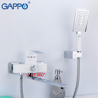 GAPPO White Stoving Varnish Wall Mounted Long Spout Bathtub Faucet With Handheld Shower bathroom faucet mixer bath shower faucet