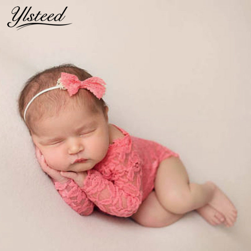 Baby Girls Lace Romper Newborn Photography Props Infant Photo Costume Deep V Back Lace Jumpsuit Headband Set Photo Shooting Prop