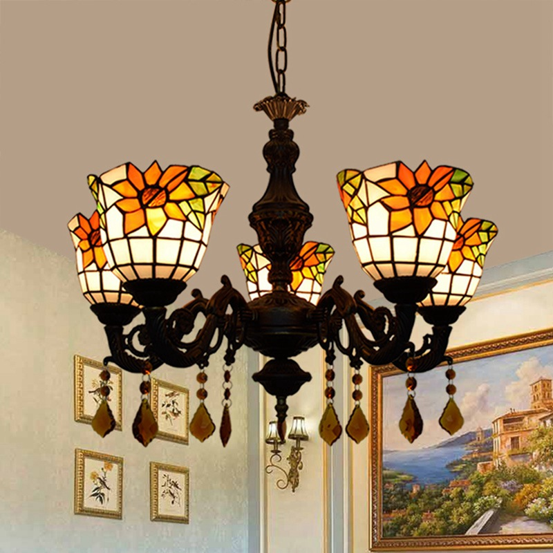 American Tiffany color glass pastoral sunflower bar restaurant crystal decorated 5 chandeliers
