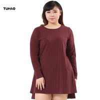 TUHAO PLUS SIZE 4XL 6XL 8XL 10XL Female Knit Dresses 2017 Autumn Winter Women Loose Vintage