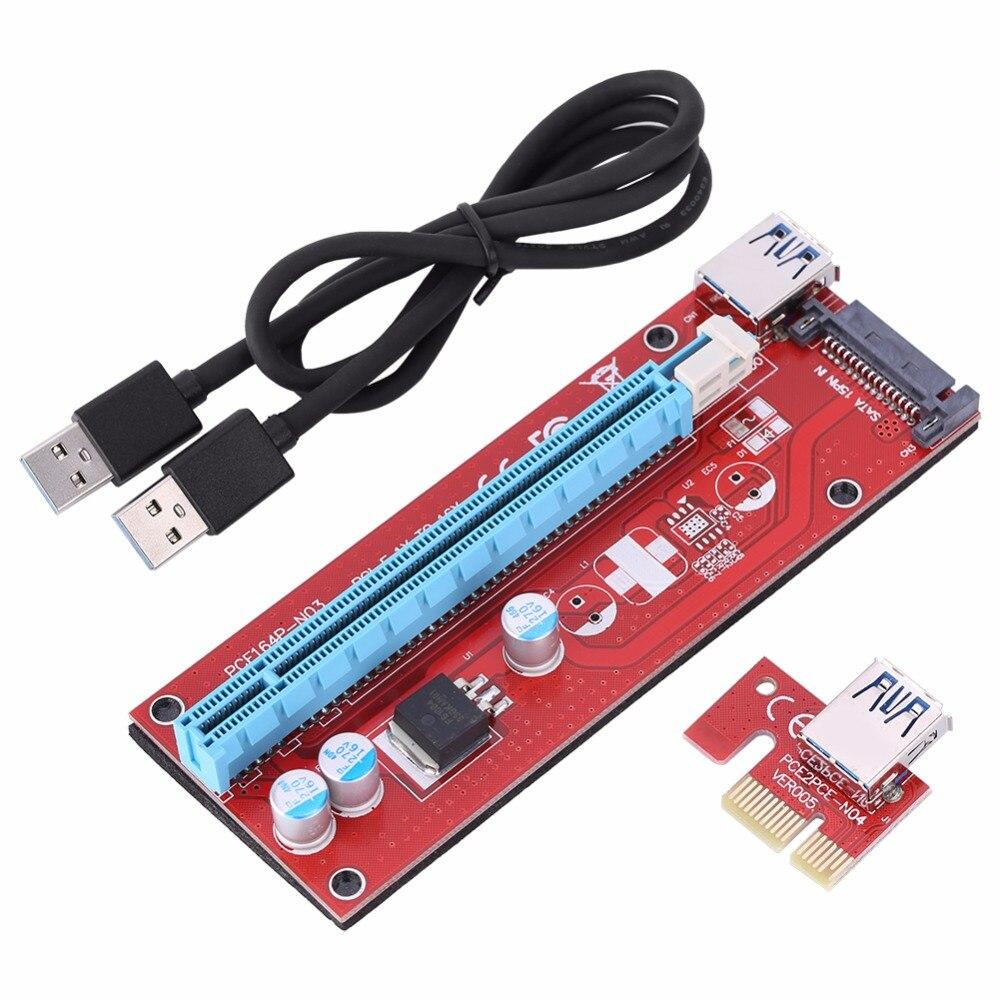 60 cm PCIe PCI-E Express 1x à 16x USB 3.0 Alimenté conseil Extender Riser Adaptateur Carte Graphique Pour BTC Mining Mineur Machine
