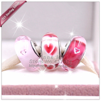 3pcs New 2017 Valentine\'s Day S925 Sterling silver Rose Hearts Series of jewelry Charm Beads Fit European Charm Bracelets