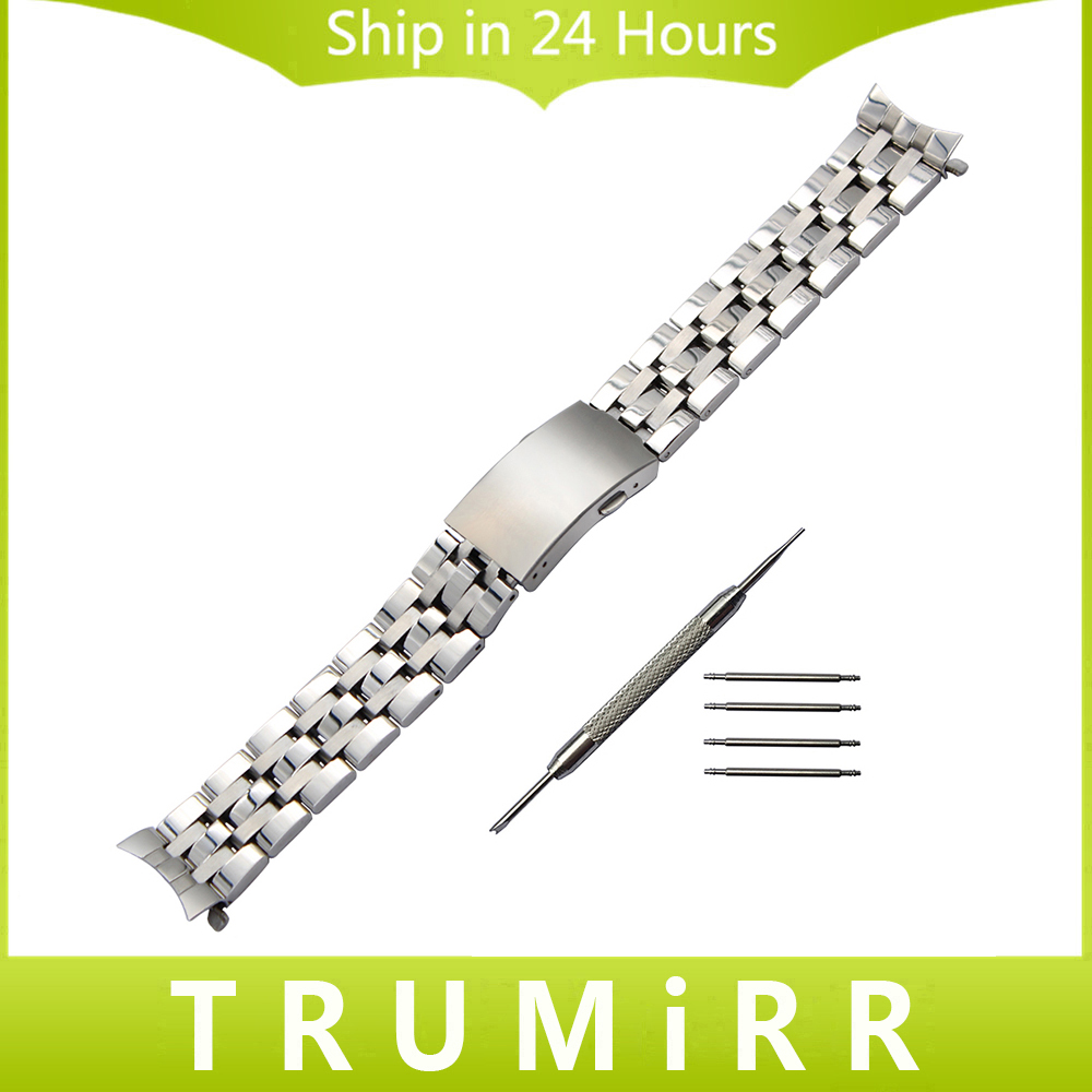 Curved End Stainless Steel Watchband 19mm 20mm for PRC200 T17 T461 T41 T067 Watch Band Wrist Strap Replacement Bracelet Silver  20mm curved end stainless steel watchband tool for omega seamaster 007 watch band wrist strap 1 1 as original bracelet silver