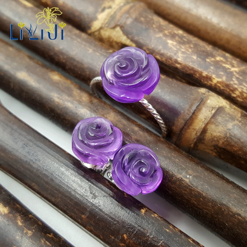 Lii Ji 925 Sterling Silver Real Amethyst Rose Flower Shape Fine Jewelry Set For Wedding Party