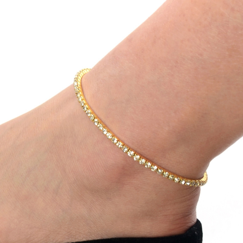 1 /2 Row Fashion Clear Crystal Tennis Silver Gold Stretch Anklet Foot Chain Ankle Leg Bracelet Foot Jewelry For Women