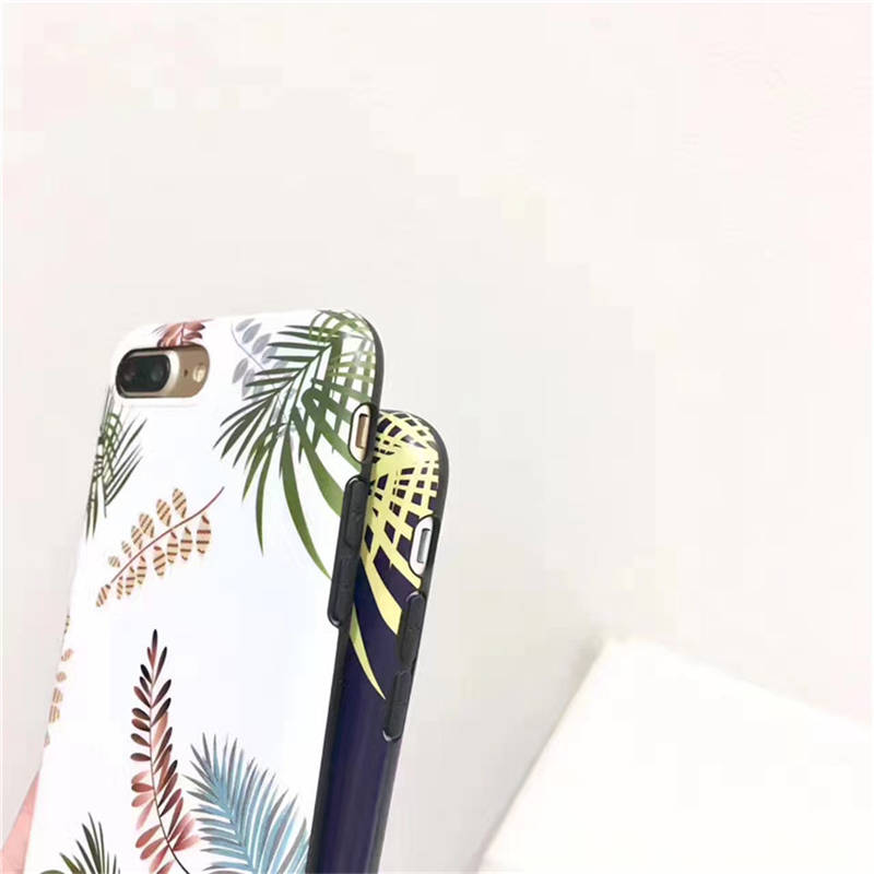 Original Hand Painted Small Fresh For Iphone 6 6S 7 8plus X Xs Xr Xsmax Leaf Frosted Protective Cover in Fitted Cases from Cellphones Telecommunications