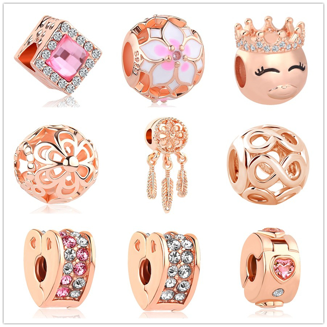 545aaf634 2018 New rose gold Blush Pink Magnolia Bloom Bead fit Original Pandora  charms silver women's Bracelet