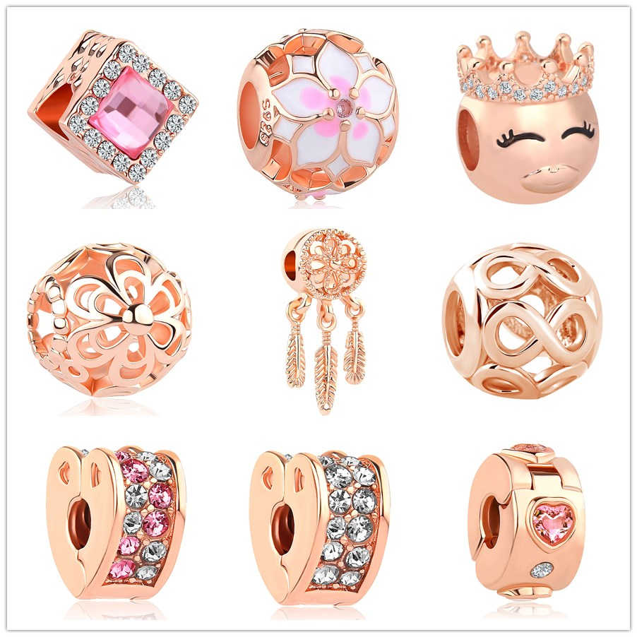 df68c4210 Detail Feedback Questions about 2018 New rose gold Blush Pink Magnolia  Bloom Bead fit Original Pandora charms silver women's Bracelet Jewelry DIY  making ...