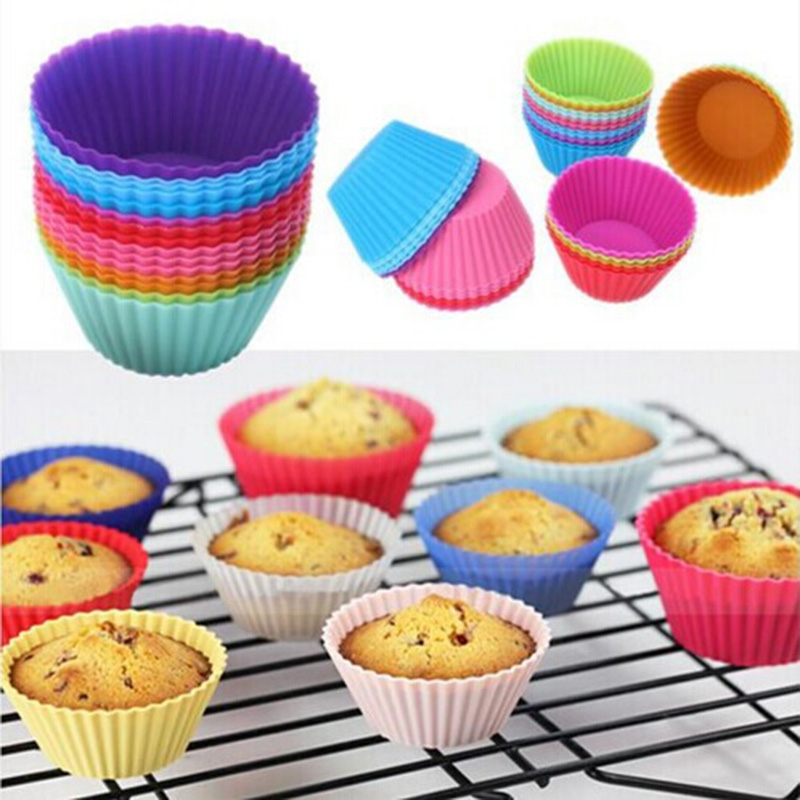 12 Pcs Silicone Round Muffin Cup Cake Cupcake Liner Baking Cup