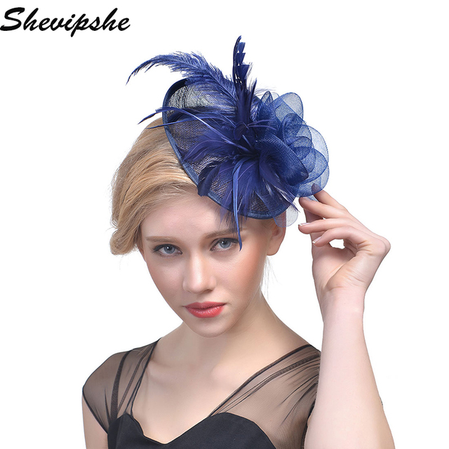 Fashion Flower Hats Women Wedding Veil Feather Fascinator Headband Hat Lady Bride Party Hairband Female Tea