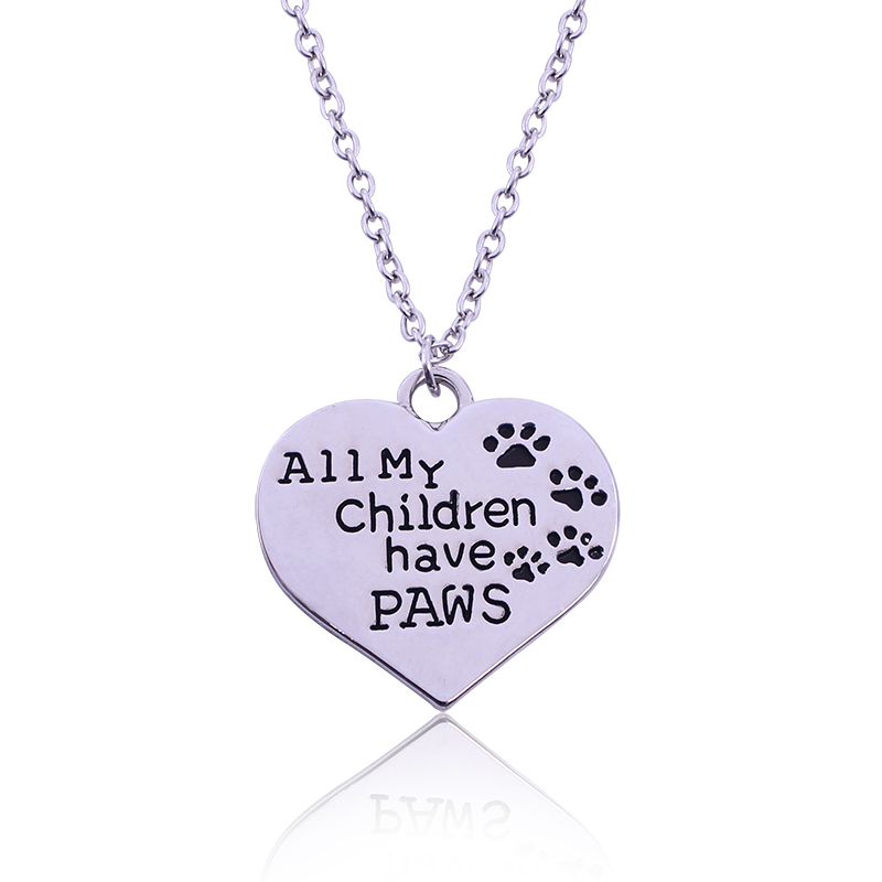 Heart-Shape Pendant Necklace Dog Cat Paw Print Lettering All My Children Have PAWS Animal Footprint Plated Silver Jewelry