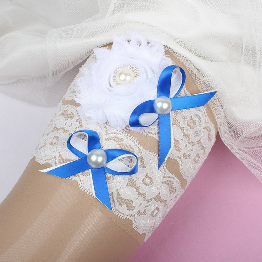 Blue Butterfly Pearl Wedding Garter With Bow Wedding
