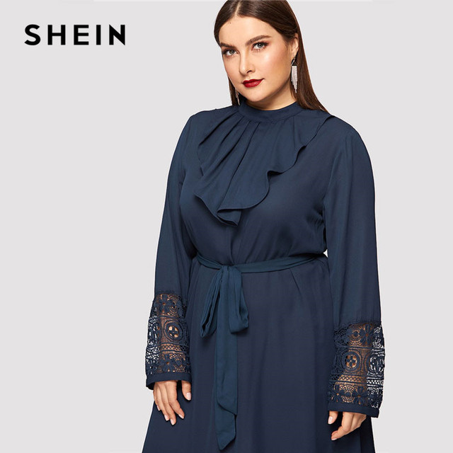 SHEIN Navy Women Plus Size Elegant Contrast Lace Belted Ruffle Trim Maxi Dress Women Stand Collar Long Sleeve Dresses 4