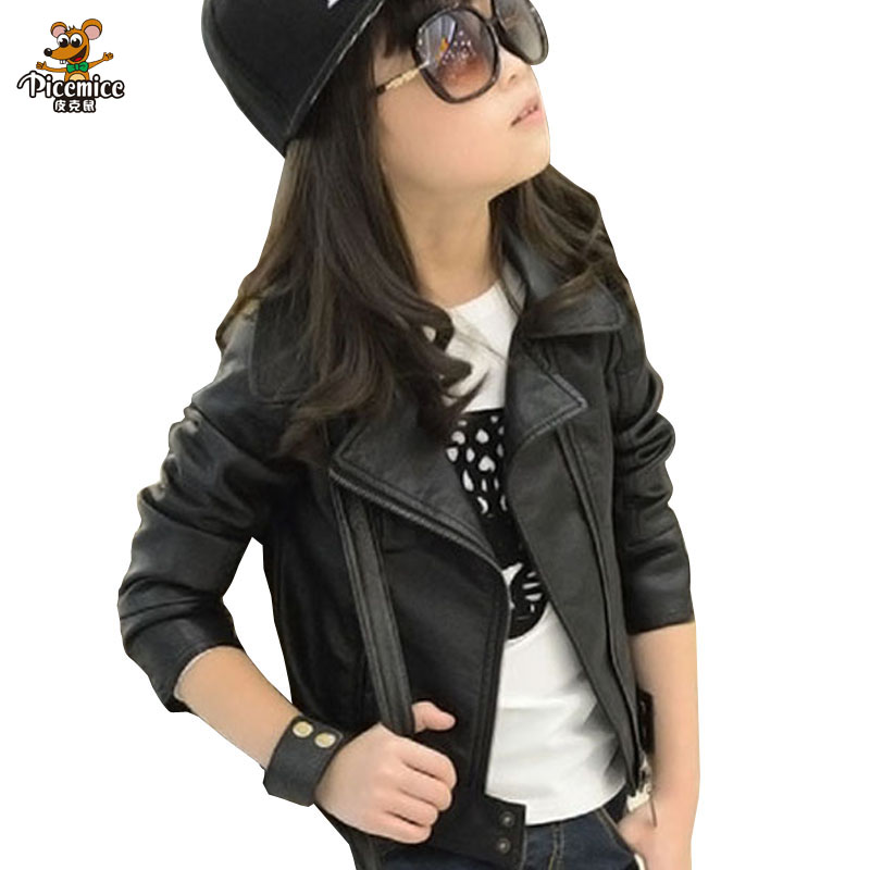 2016 New Baby Girl Leather Jacket Kids Girls And Coats Spring Kids Leather Jackets Girls Casual Black Solid Children Outerwear spring outfits for kids