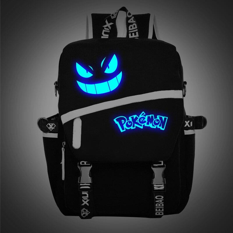 2016 Game&Animation Pokemon Go backpacks for teenagers Luminous Logo Light in Dark laptop backpack School bags mochlia