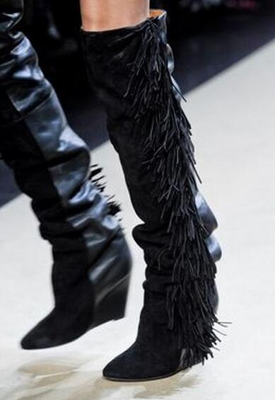 Good quality black/white winter fringed knee boots for woman height increasing wedge heels tassels boots fashion lady long boots