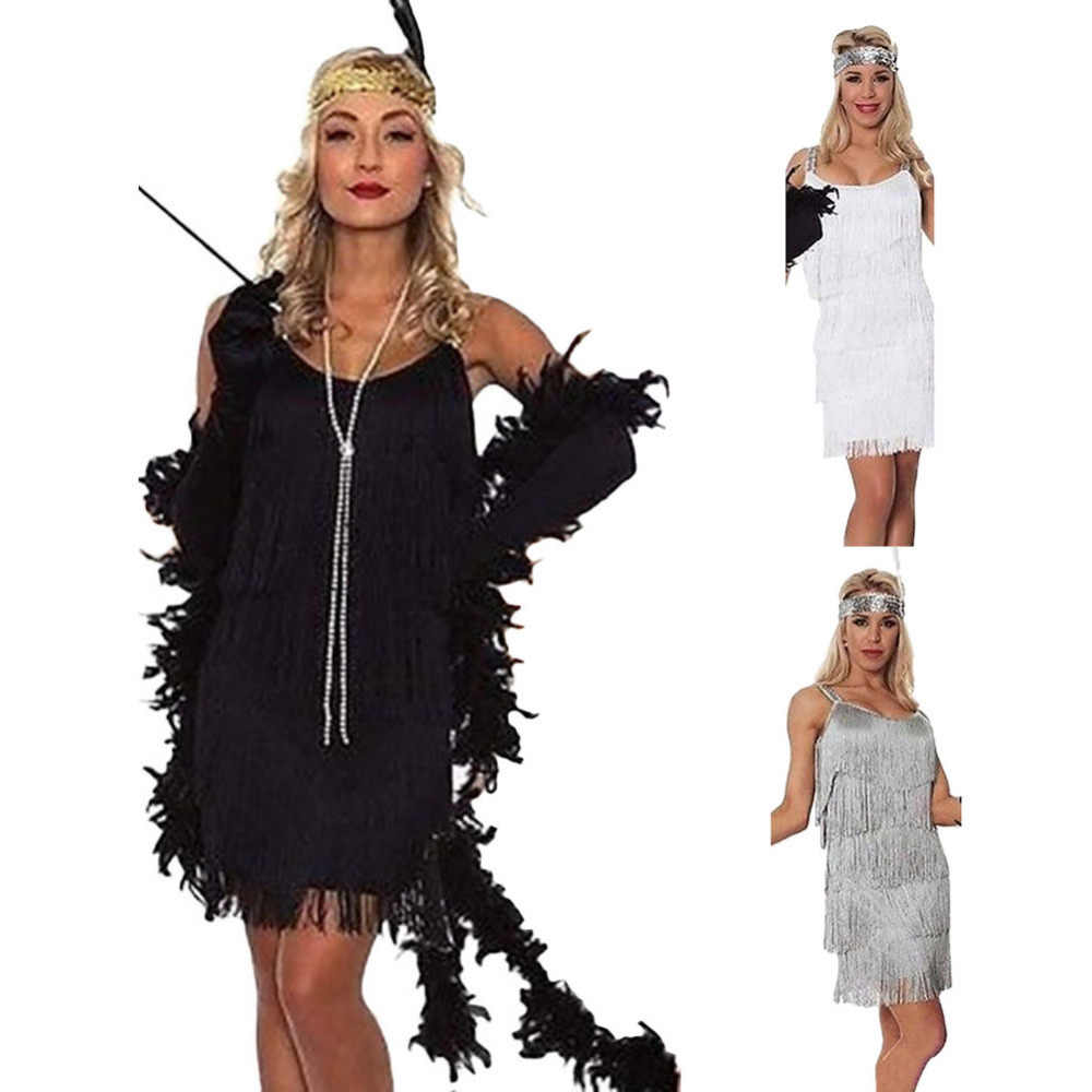 Deluxe Ladies 1920s Roaring 20s Blue Flapper Costume Gatsby Ganster Fancy Dress