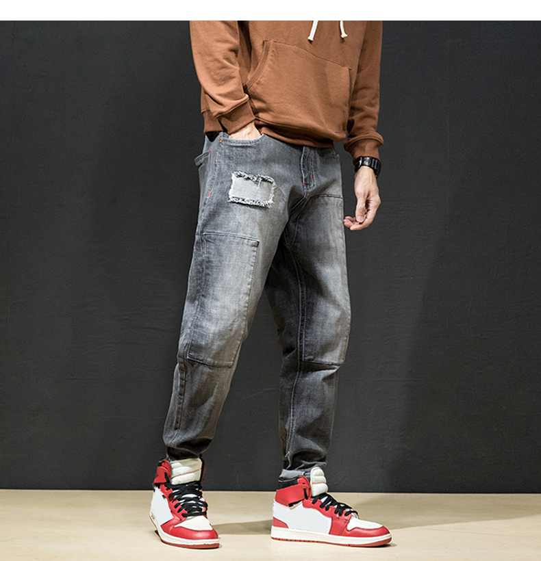 KSTUN Jeans Men Japan Harem Pants Ripped Patched Hip hop Joggers Distressed Biker Jeans Grey Stretch Casual Denim Trousers Boys 21