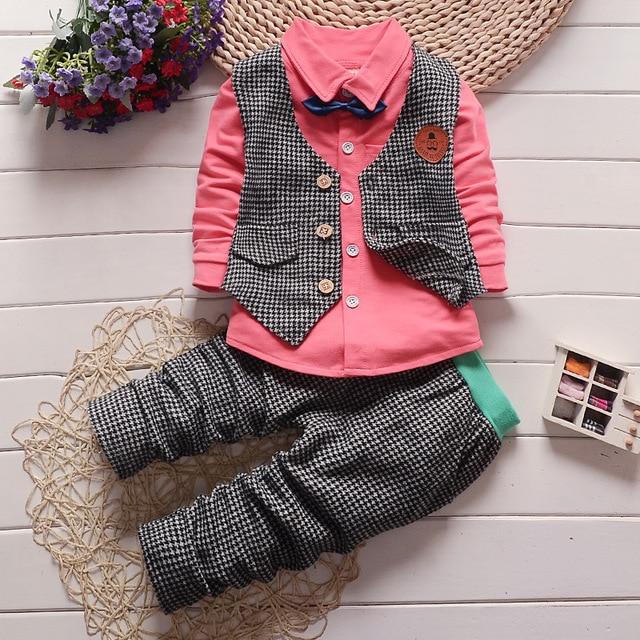 66c026e2 Baby boys clothing set Kids Formal Suit Boy gentleman outfits infant  tracksuit 3pcs plaid t-shirt+pants+vest sets sport suit