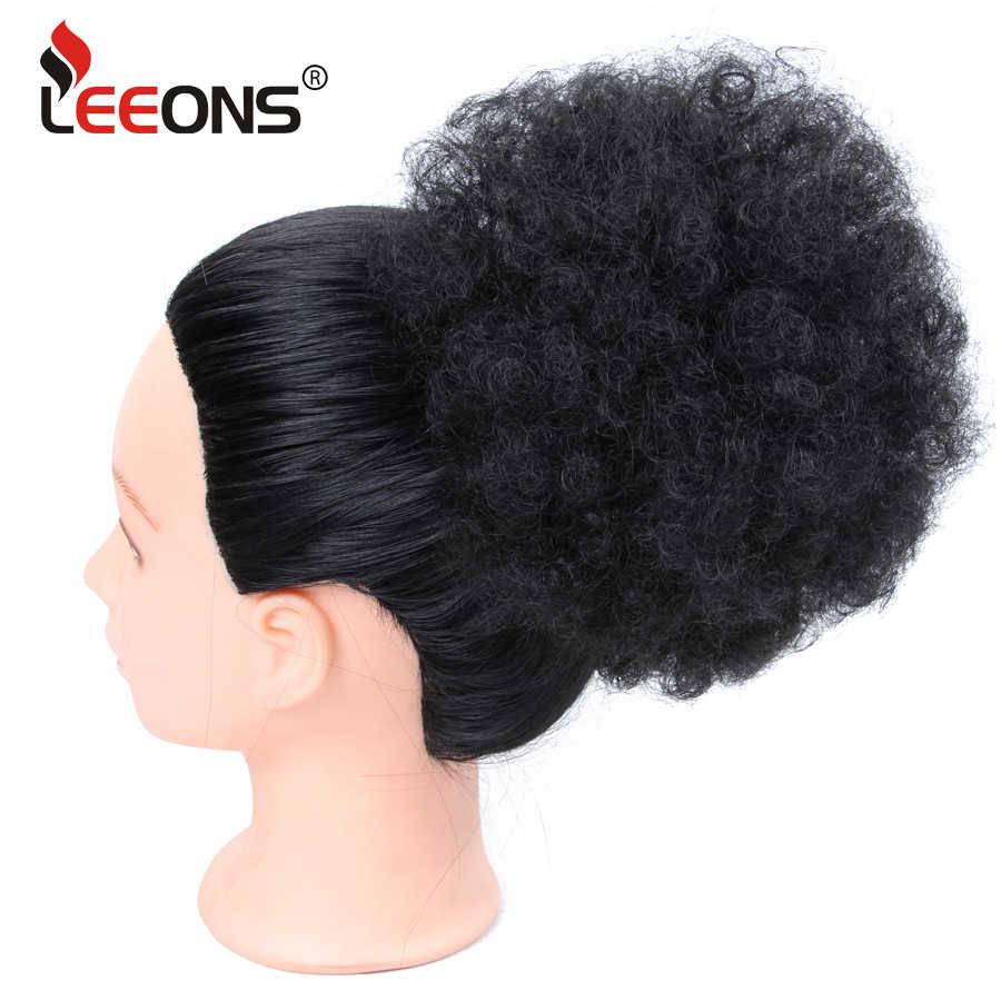 Leeons 8 дюймов шиньон афро шиньон-хвост грязный булочка пончик Синтетический зажим для наращивания волос черный коричневый синий фиолетовый 16 цветов