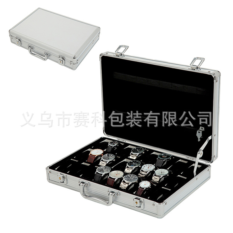 The new luxury 24 portable aluminum metal watch box jewelry exhibition organizer collects the owner clock for the storage table survival kit tin higen lid small empty silver flip metal storage box case organizer for money coin candy keys