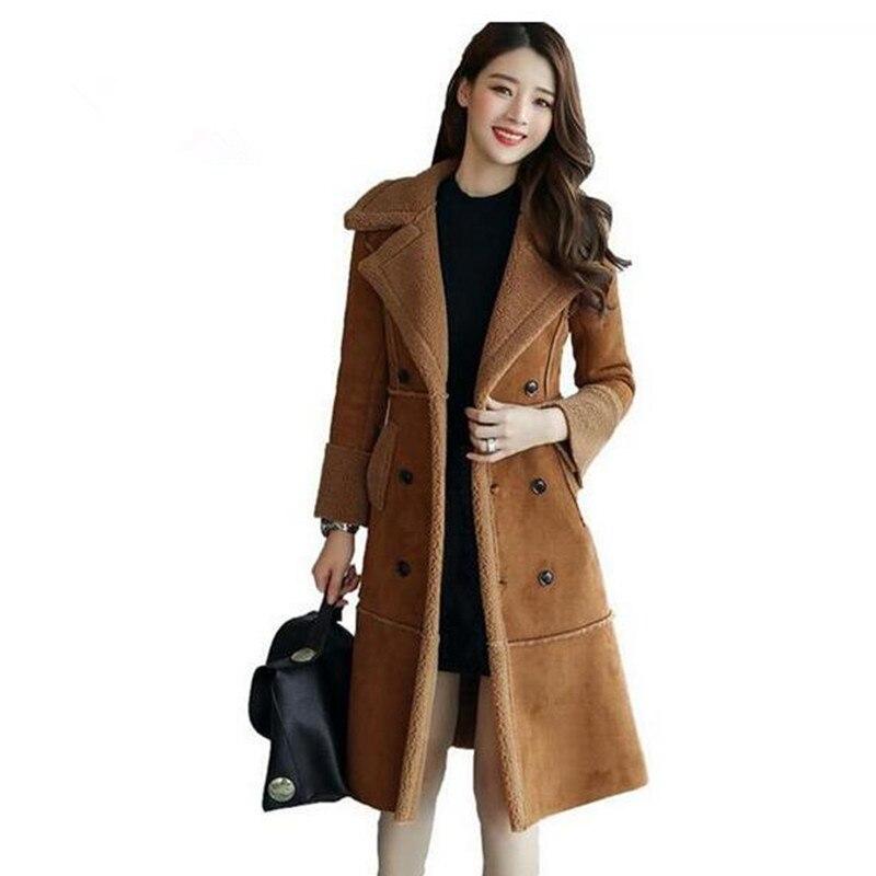 828897d24f87d Coton Velours Plus Nouveau Longue Vêtements camel Femmes Daim gris Manteaux  En 2018 Manteau Mince Laine Beige Veste ...