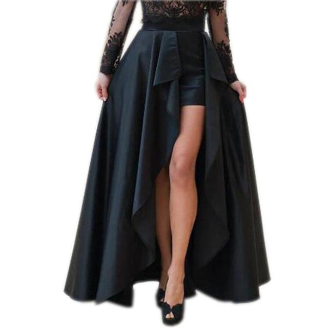 Fashion Black Ruffle Sexy High Low Satin Skirts For Women To Party Zipper Custom Made Long Skirt Female Skirt New Design Saia