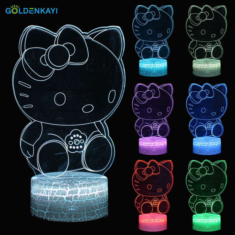 GOLDENKAYI 3D LED Originality Night Lights Atmosphere Visual Lamp Touch Kitty Cat Bedside Seven Colors Light Gift For Girlfriend